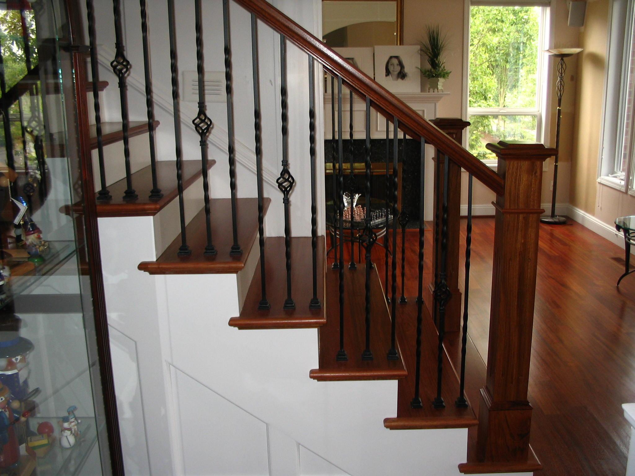 Brazilian cherry handrail, custom made posts, wrought iron ...