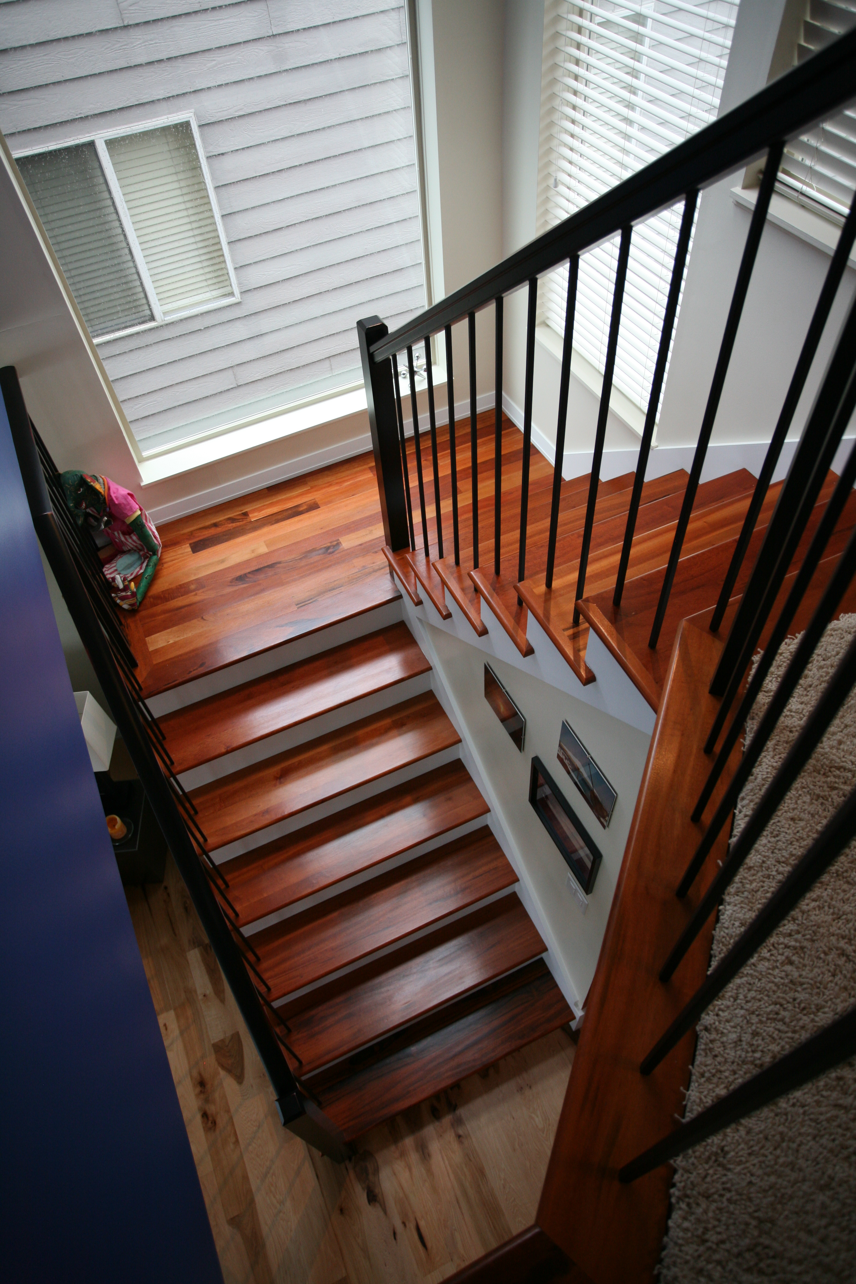 Tigerwood Treads U0026 Calico Hickory » Contemporary Stairs, Tiger Wood  Treads, Wrought Iron,