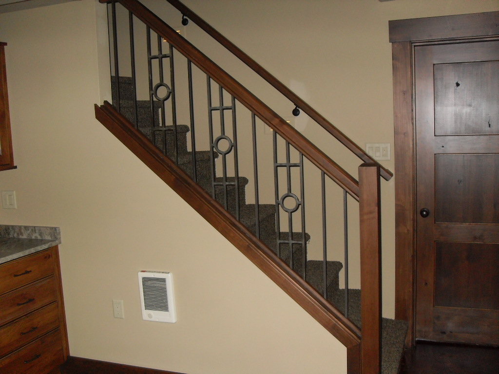 Wrought Iron Panels, With Alder Stained Posts, » Wrought Iron Panels, With  Alder Stained Posts,